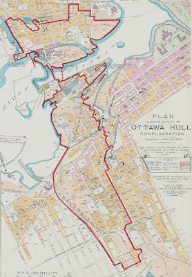 Map of Ottawa showing a long red outline, depicting the extent of the fire, around much of Hull, Chaudiere Falls islands, LeBreton Flats, and Rochesterville (CPR tracks to modern-day Booth St all the way down to Carling)