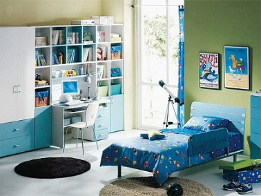 Dormitorios colores y estilos - Habitacion juvenil azul ...