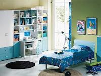 Dormitorio color azul y verde