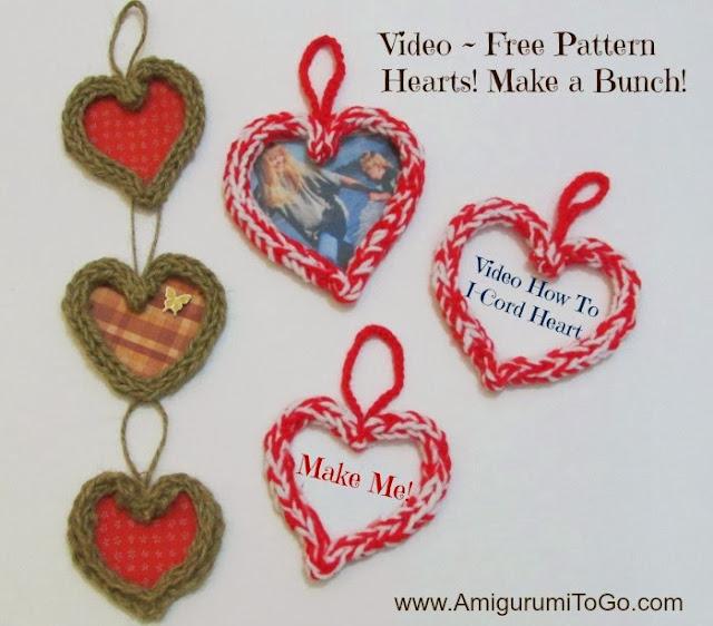 crochet I-Cord hearts