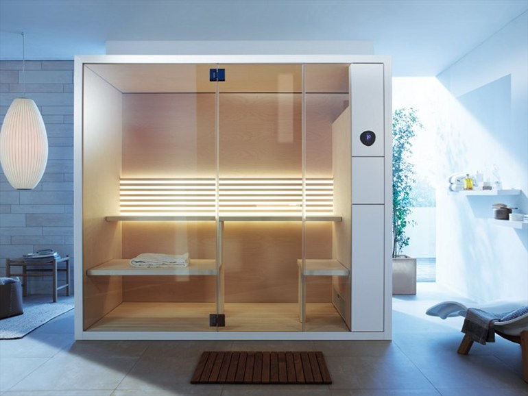 new smaller modern saunas with transparent glass fronts by eoos for duravit if it 39 s hip it 39 s. Black Bedroom Furniture Sets. Home Design Ideas