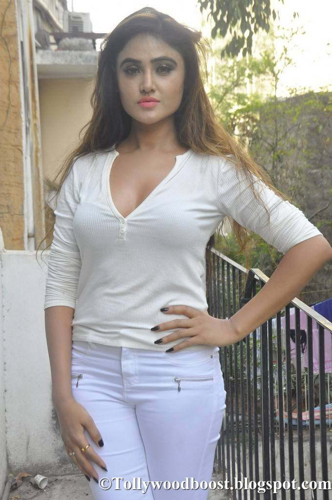 Beautiful Telugu Girl Sony Charishta Hot Stills In White Dress