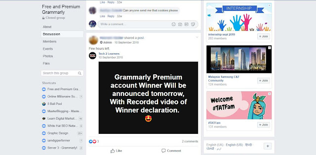 Free Grammarly Premium Giveaways On Facebook Group
