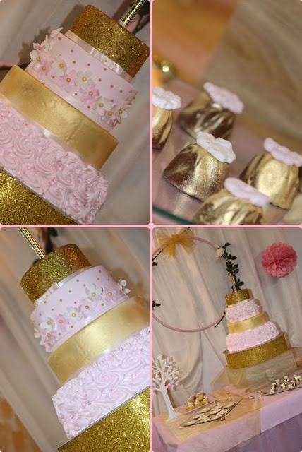 torta oro e rosa con brillantini