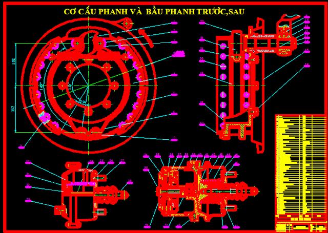Cơ cấu phanh và bầu phanh trước sau huyndai hd370