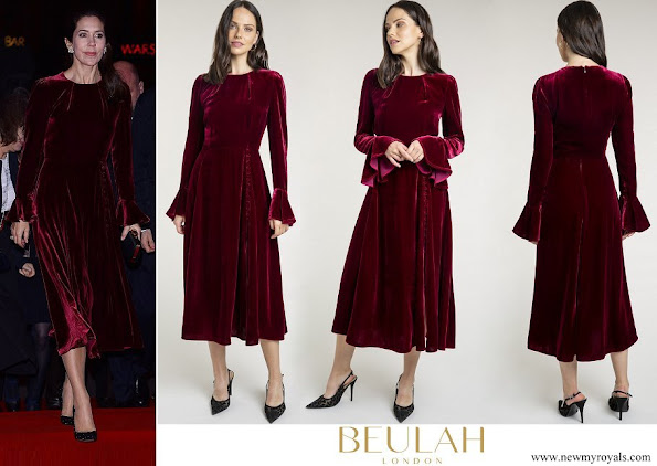 Crown Princess Mary wore Beulah London Yahvi Tailored Velvet Midi Dress