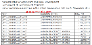 NABARD Development Assistant Result 2015