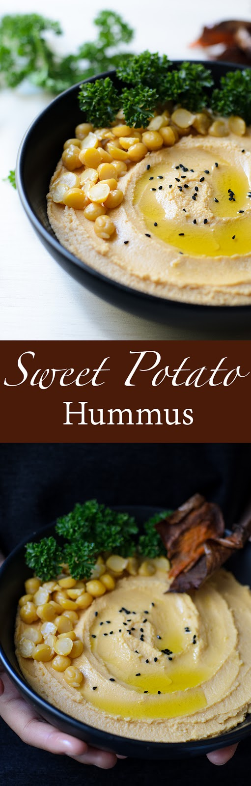 Easy Hummus recipe made from fresh ingredients.  Hummus and mashed sweet potato, excellent with crisp sweet potato skin. Hummus is a Levantine and Egyptian food dip or spread made from cooked, mashed chickpeas or other beans, blended with tahini, olive oil, lemon juice, salt and garlic.