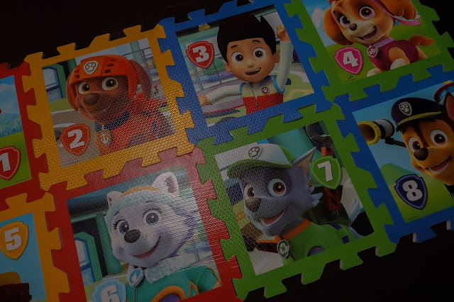 The 8 Paw Patrol Playmats put together in rectangle (4 squares by 2)