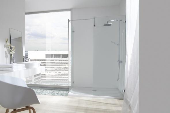baño con ducha y mampara sin perfiles
