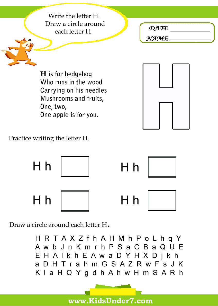 Kids Under 7 Letter H Worksheets