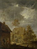 Yard of Peasant House by David Teniers II - Landscape Paintings from Hermitage Museum