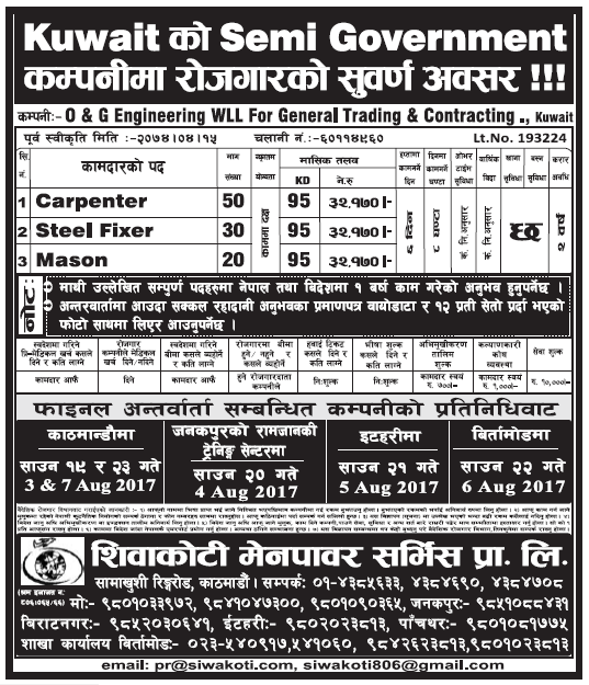 Jobs in Kuwait for Nepali, Salary Rs 32,170