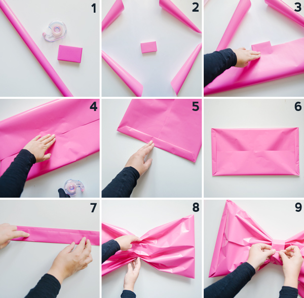 Cara bikin bungkus kado bentuk pita jumbo
