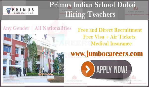 Indian school teachers job in Dubai, Current teaching job vacancies in UAE,