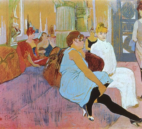 In the Salon at Rue des Moulins (bordel na rua dos moinhos), pintura de Henri de Toulouse-Lautrec.