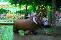 Encierro de toros hinchables