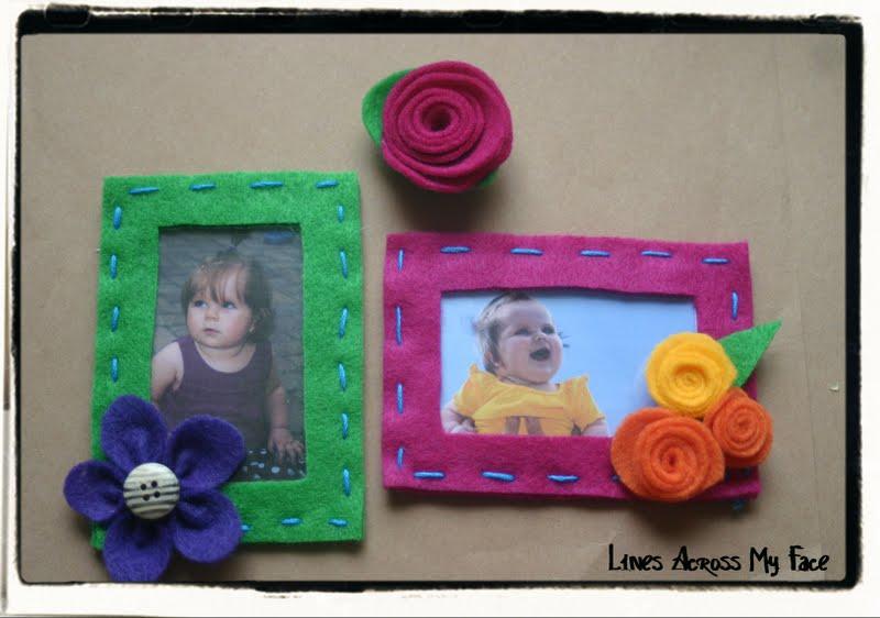 Felt Photo Frame Magnets And Felt Flower Magnets Lines Across