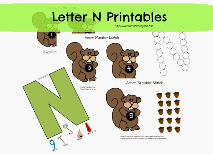 Letter N Toddler Printables