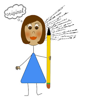 Stickgirl holding a pencil with the word original overtop of her.