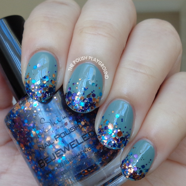 Jewel Toned Glitter Gradient Nail Art