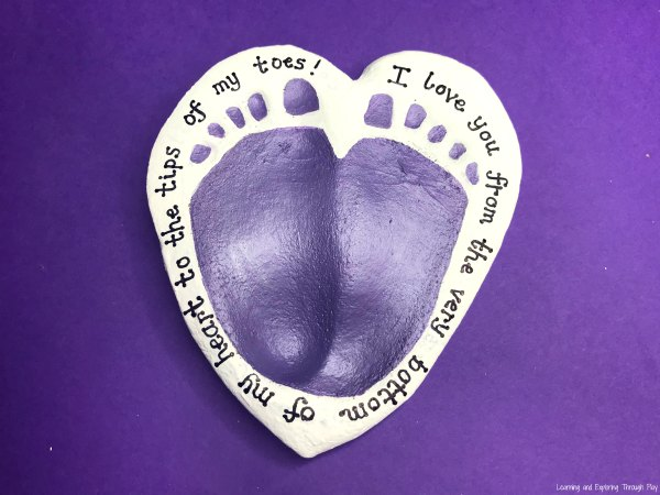 Heart Foot Print Salt Dough Keepsake