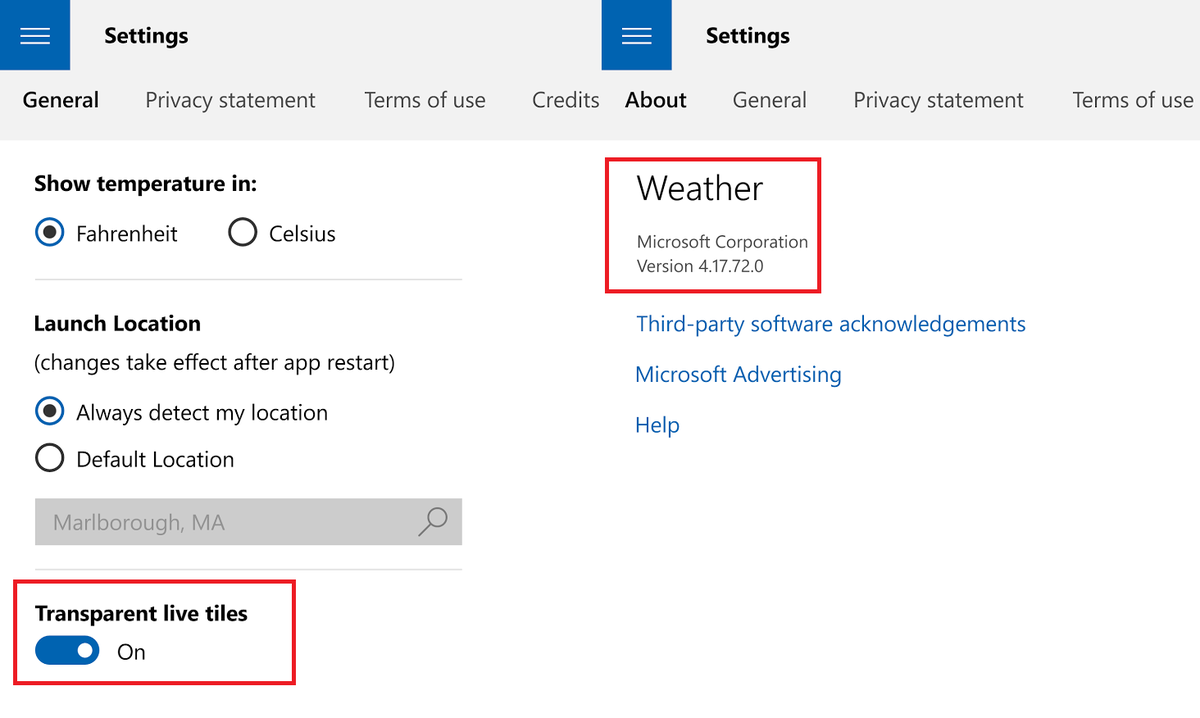 Importanti aggiornamenti per le App MSN in Windows 10 Meteo HTNovo
