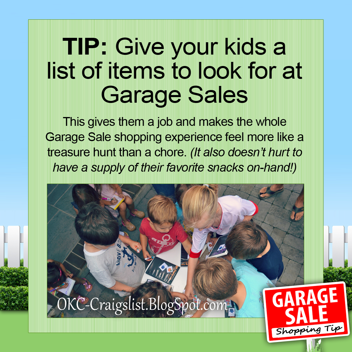 GARAGE SALE TIP: Turn Garage Saling into a Treasure Hunt for Kids