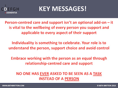 Key Messages for 'Person and relationship centred care and support'