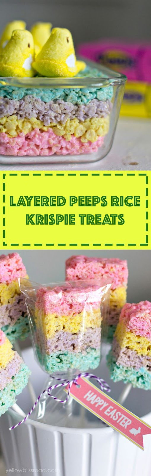 Layered Peeps Rice Krispie Treats