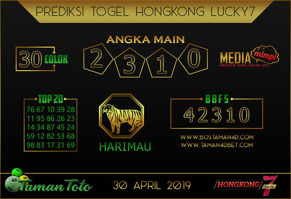 Prediksi Togel HONGKONG LUCKY 7 TAMAN TOTO 30 APRIL 2019