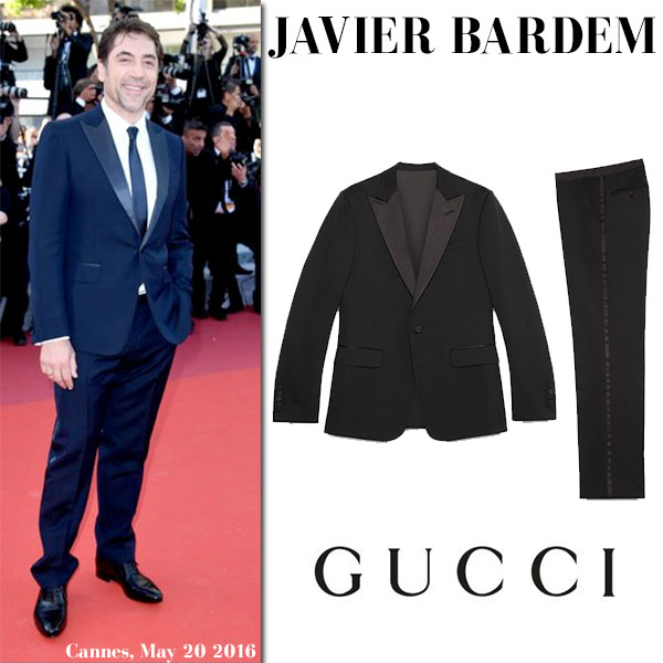 Javier Bardem in dark blue tuxedo gucci signoria cannes 2016 red carpet
