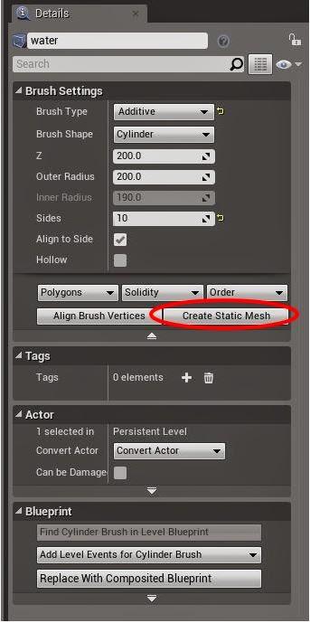 Create static mesh.