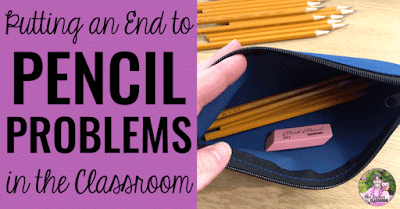"Open pencil case with text, ""Putting an end to pencil problems in the classroom."""
