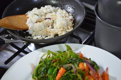 Frugal people save money one way is by frying rice in the residue of any sauteed or fried dish.