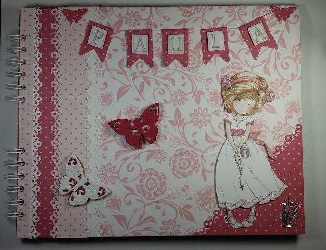 Libro de firmas de comunión en rosa