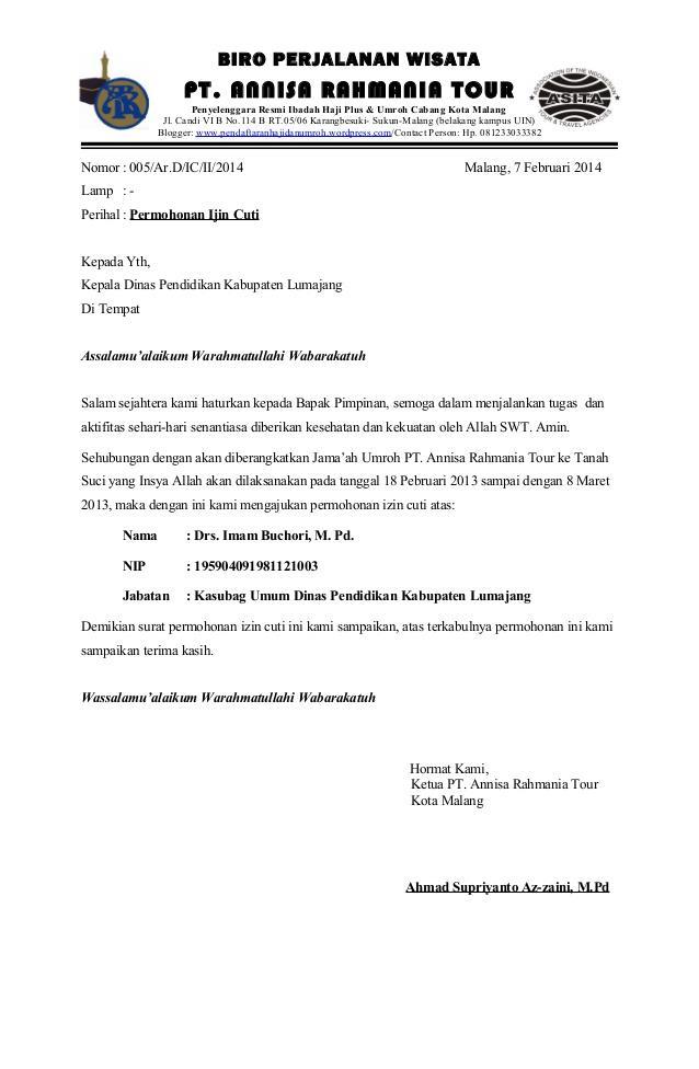 contoh surat cuti karyawan swasta