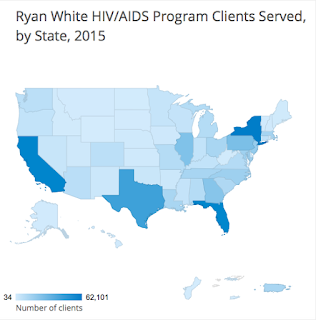 Map of the United States showing Ryan White HIV/AIDS program clients served, by state, 2015.
