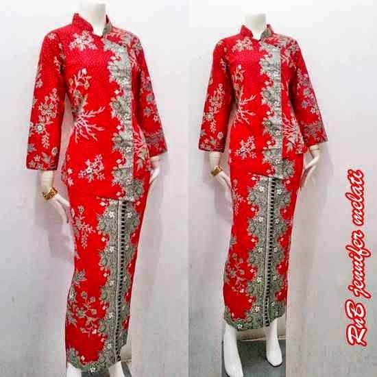 Baju Seragam Batik Kerja Setelan Rok Blus warna merah