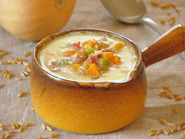 recette bio de soupe avec de la courge butternut et du kamut