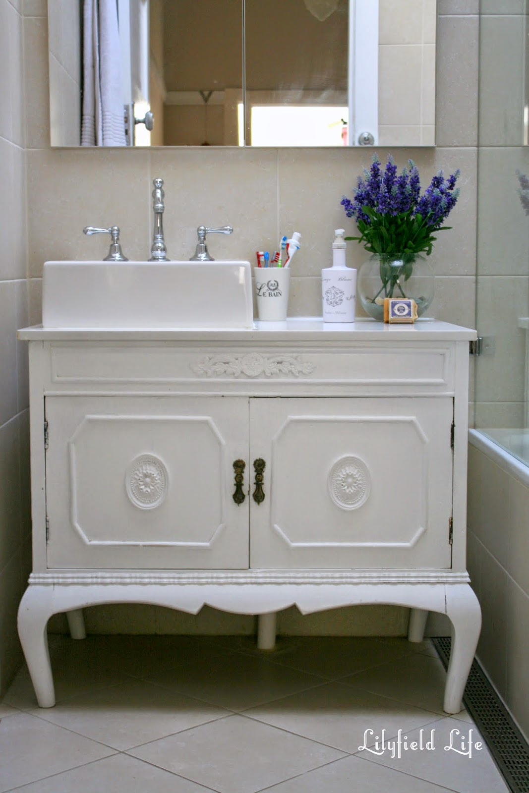 lilyfield life: vintage cabinet turned bathroom vanity and my