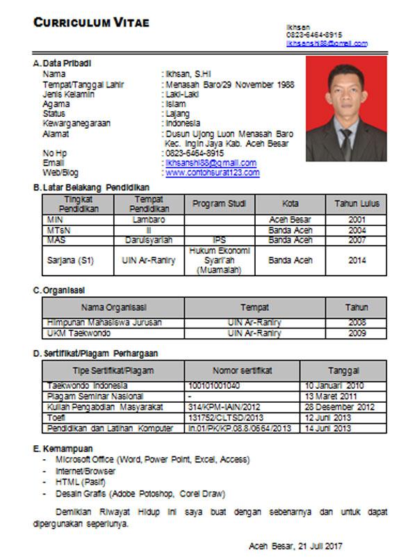 Gambar untuk Contoh CV Menarik Untuk Fresh Graduate Yang Baik dan Benar