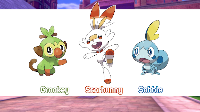Pokémon Generation 8 starters Grookey Scorbunny Sobble official art