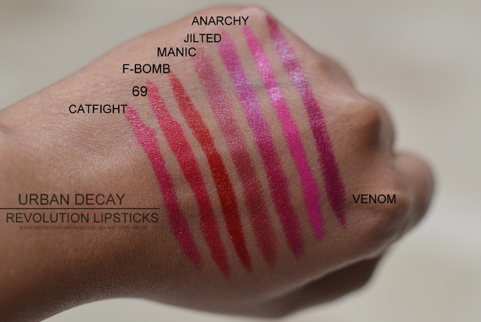 Urban Decay Revolution Lipsticks Indian Darker Skin Makeup Beauty Blog Swatches Photos Bang Catfight 69 Fbomb Manic Jilted Anarchy Venom