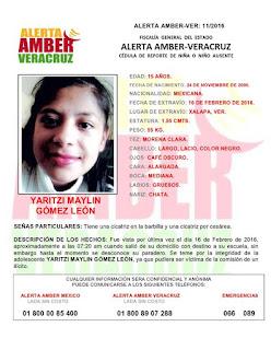 Activan Alerta Amber para Yaritzi Maylin Gómez León en Xalapa