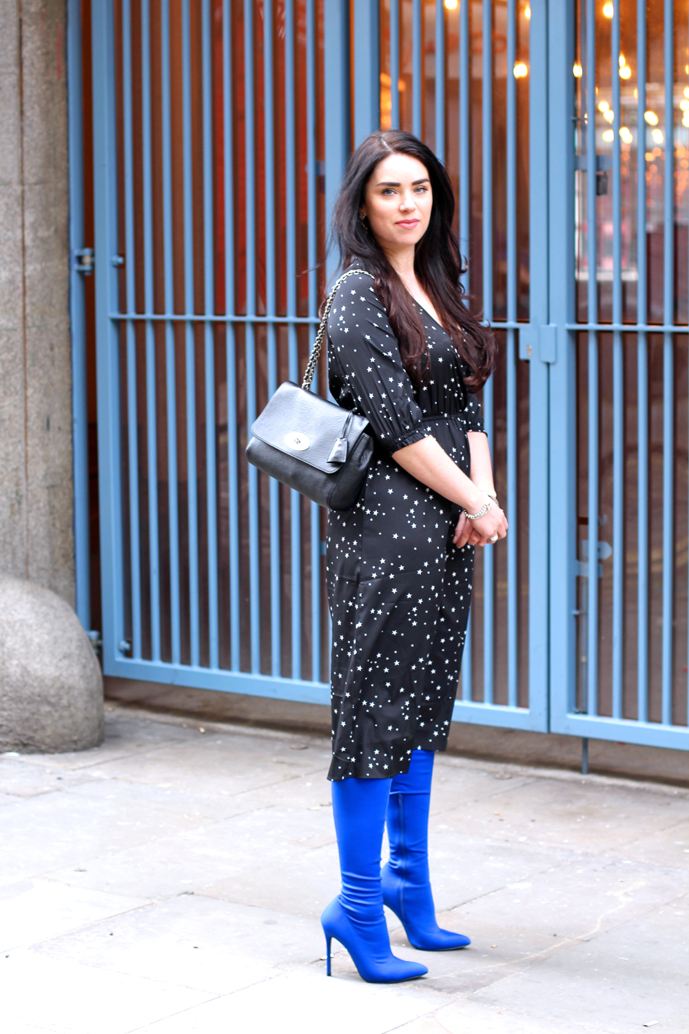 Emma Louise Layla in Boohoo star dress and blue thigh high boots - London style blogger