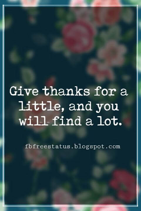 Inspirational Quotes About Thanksgiving And Gratitude, Give thanks for a little, and you will find a lot. -Hausa Proverb