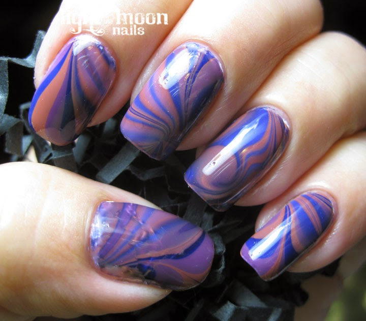 Light Of The Moon Nails: Barielle Water Marble Nail Art