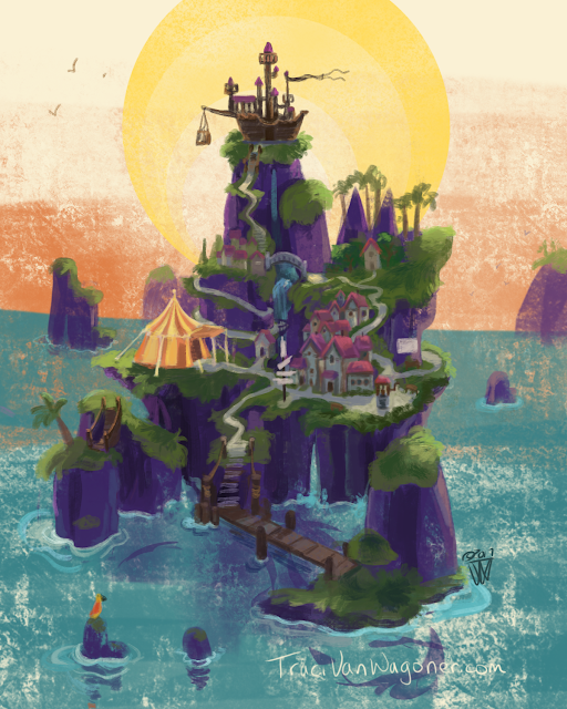 Pirate Island setting concept art for a picture book project by Traci Van Wagoner