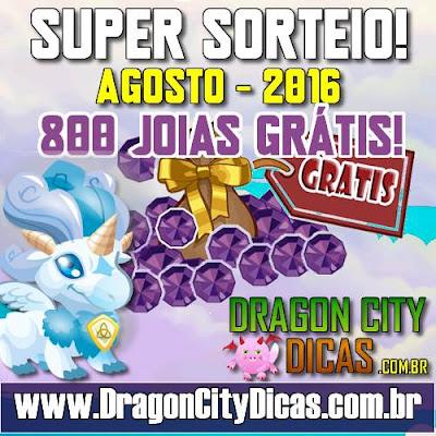Super Sorteio de 800 Joias Grátis - Agosto 2016